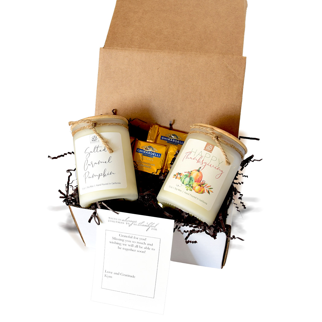 gift set candle with a grateful theme
