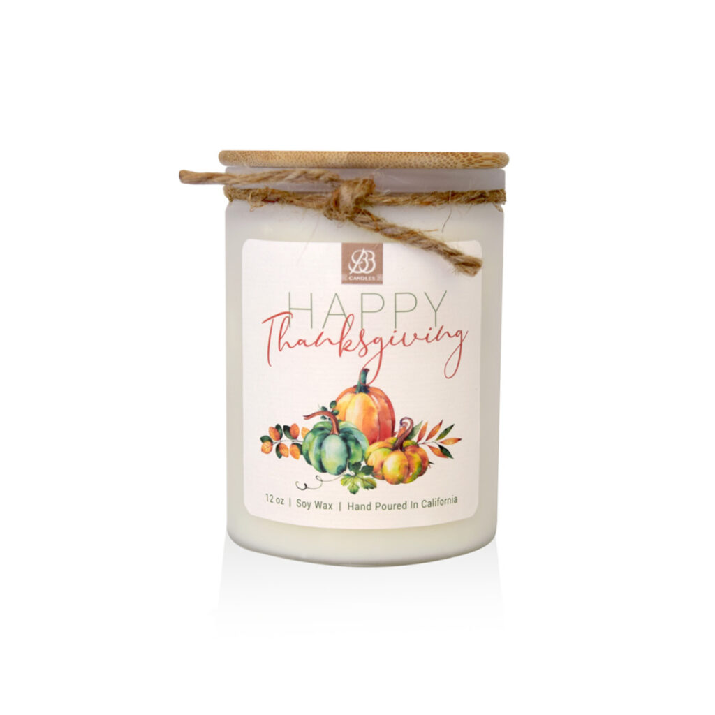Happy Thanksgiving theme candle
