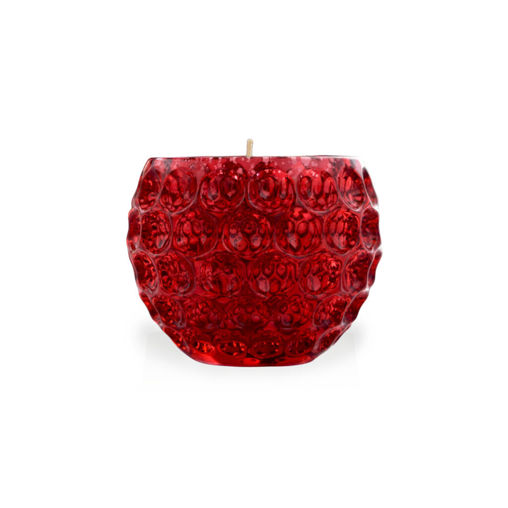 mercury red tone glass candle